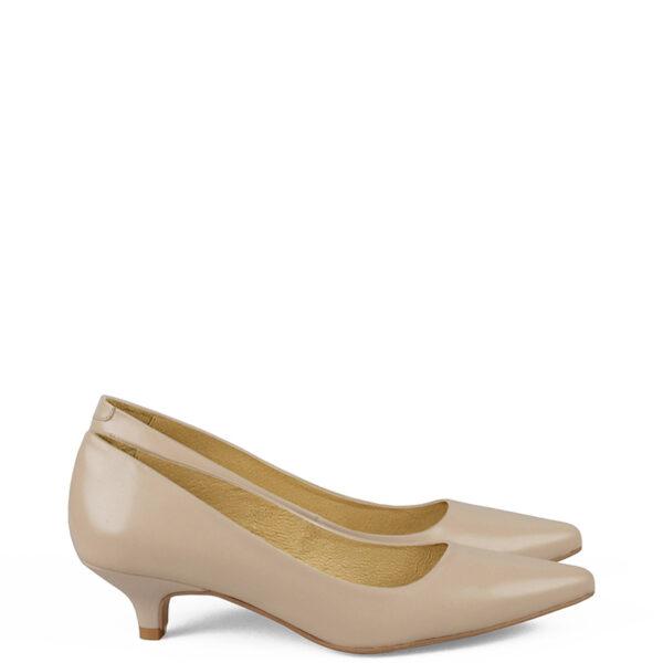 GASSU MICHELLE - Beżowe buty na niskim obcasie,