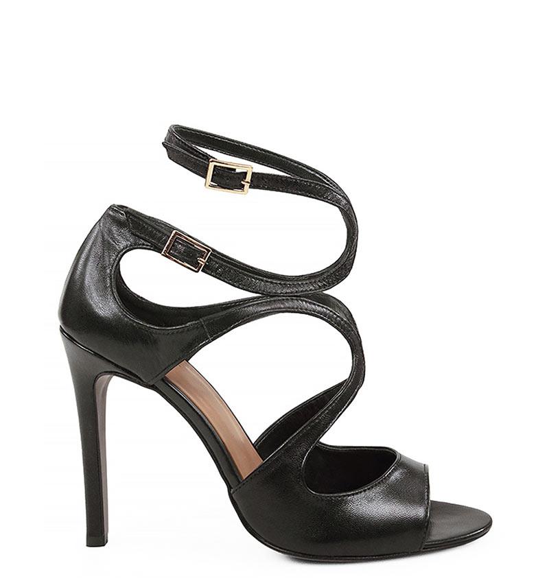 GASSU SANNE - Eleganckie sandały na szpilce czarne z licowej skóry.