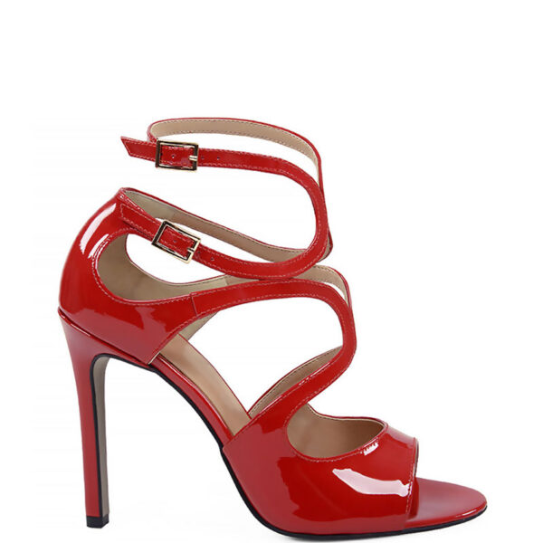 GASSU SANNE - Eleganckie sandały na szpilce czerwone z lakierowanej skóry.