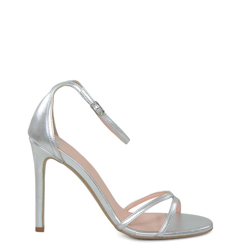 GASSU SOPHIA - Sandały srebrne szpilki z licowej skóry.