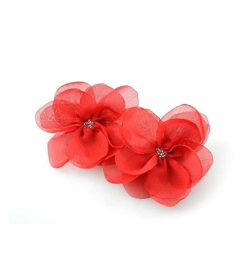 Klips do butów czerwony kwiat
