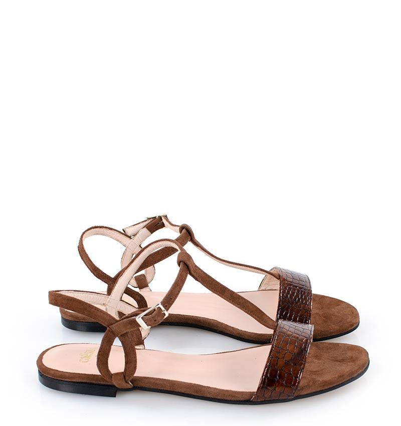 Janet - Letnie, ciemno brązowe sandałki na płaskim obcasie,